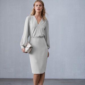 Reiss Pale Grey Button Detail V Neck Dress